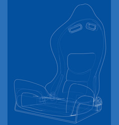Car seat outlined rendering of 3d vector
