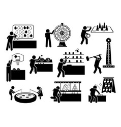 carnival games and theme park activities stick vector image