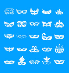 carnival mask venetian icons set simple style vector image