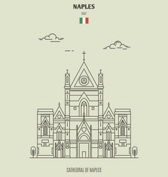 Cathedral naples italy vector