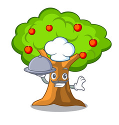 chef with food apples on tree branch the character vector image