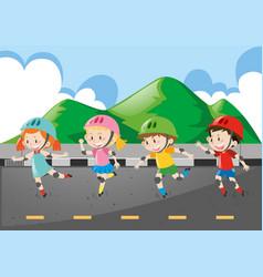 Children rollerskate on the road vector