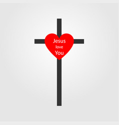 christian cross sign with heart cross icon cross vector image
