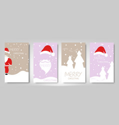 christmas card set merry happy new year vector image