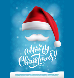 christmas design santa hat and mustache vector image