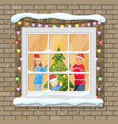 christmas window in brick wall vector image