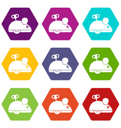 clockwork mouse icon set color hexahedron vector image