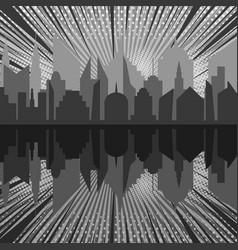 comic night city silhouette monochrome concept vector image