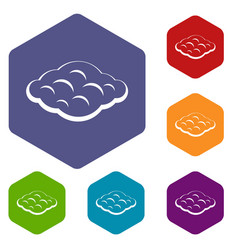 Curly cloud icons set hexagon vector