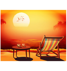 Deckchair at sunset vector