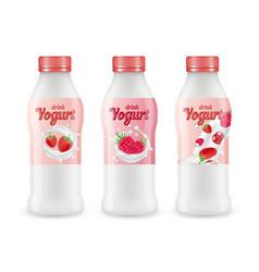 Drink yogurt realistic set bottles vector
