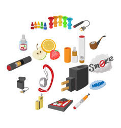 electronic cigarettes icons cartoon vector image