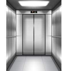 Empty elevator cabin with closed doors inside vector