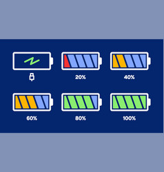 Energy level icon charge load phone battery vector