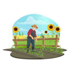 Farmer or gardener with hoe in vegetable garden vector