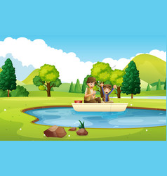 father and son fishing in the pond vector image