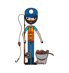 fisherman with rod and worms in bucket vector image