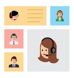 Flat icon telemarketing set of service hotline vector