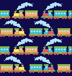 Flat train seamless pattern vector