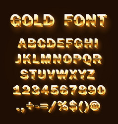 Font 3d gold sign set template design element vector