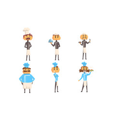 funny cartoon male chefs characters set cheerful vector image