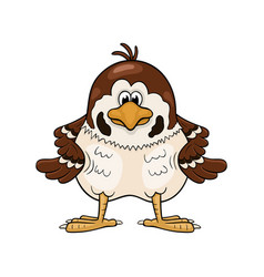funny cartoon sparrow with wings akimbo vector image