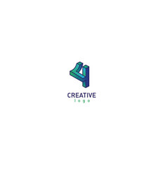 Geometric 3d logotype in a gradient style vector