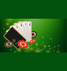 green shiny casino banner vector image