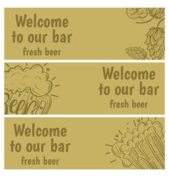 Hand drawn banners with beer in glass mug with vector image