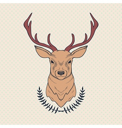 hand drawn colorful deer and laurel vector image
