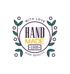 Handmade with love logo template high quality vector