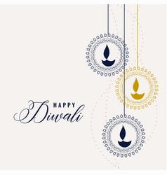 happy diwali decorative lamps background vector image
