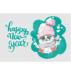 happy new year greeting card with cute little owl vector image