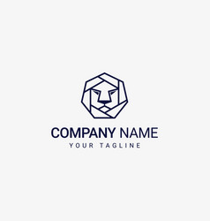 hexagonal lion logo template vector image