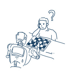 human and robot playing chess fight artificial vector image