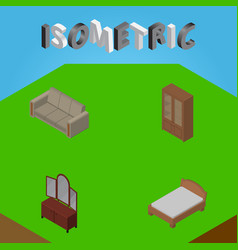 Isometric furnishing set of drawer bedstead vector