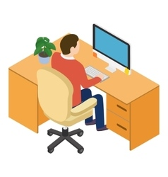 Isometric people at the workplace vector image