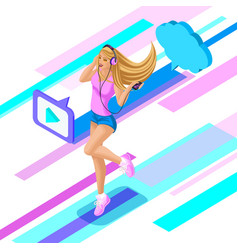 isometric teenage girl listens to music through vector image