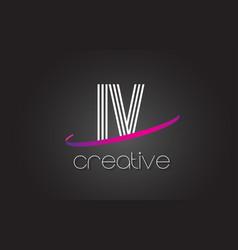 iv i v letter logo with lines design and purple vector image