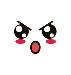 Kawaii cute face expression eyes and mouth angry vector