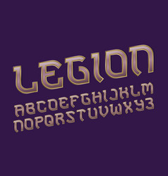 legion pink golden alphabet gaming stylized font vector image