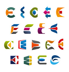 letter e icons and symbols vector image