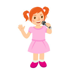Little young girl in pink singing a song vector
