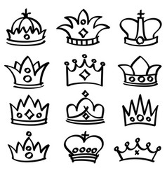 Luxury doodle queen crowns sketch vector