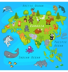 Map of Eurasia with animals vector