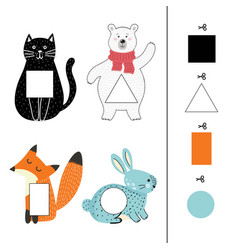 Match animals to colorful shapes shapes vector