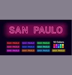 neon name of san paulo city vector image