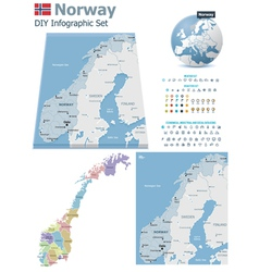 Norway maps with markers vector