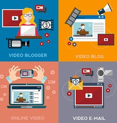Online video blog design concept set with blogger vector
