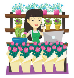 Owner of flower shop talking on a phone vector
